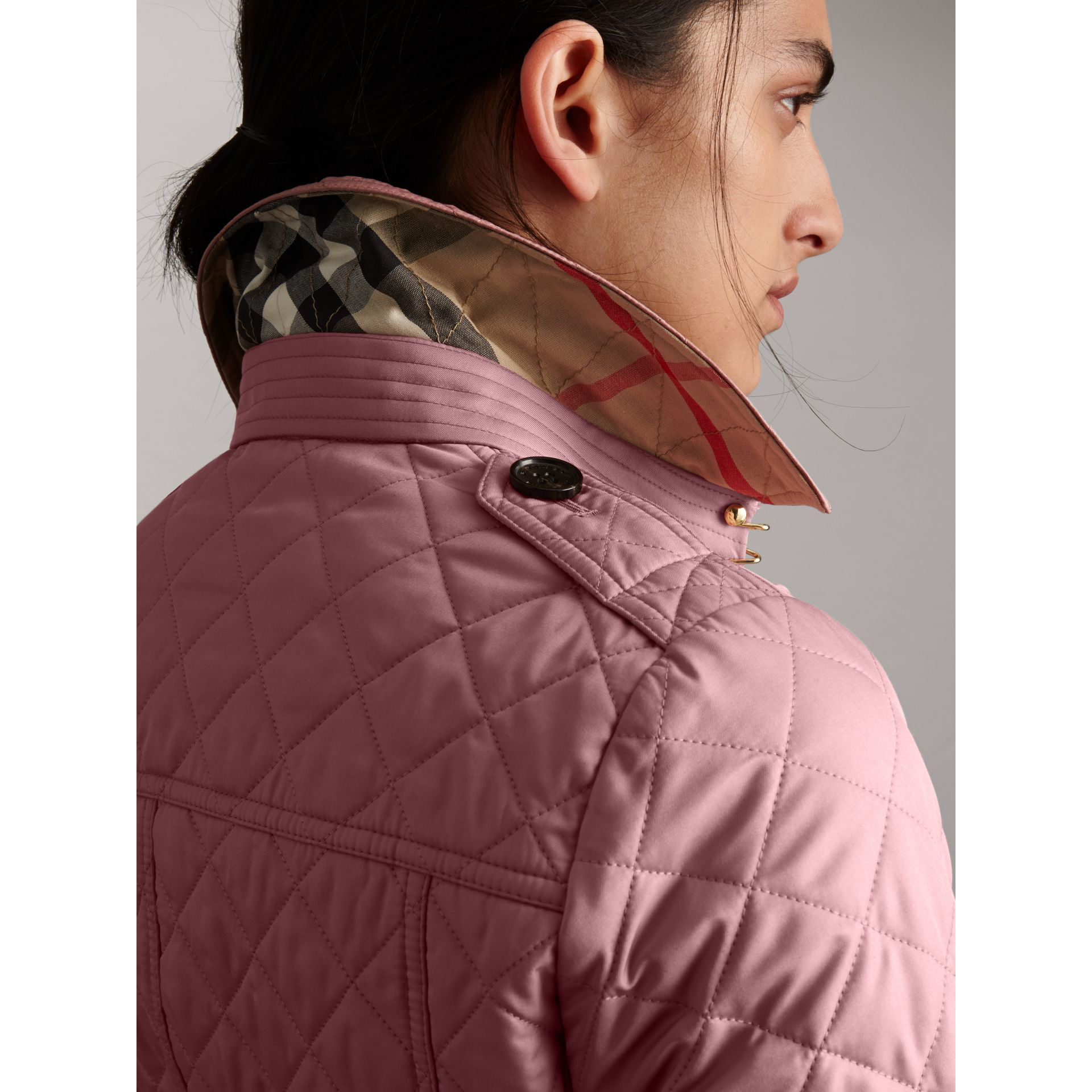 Diamond Quilted Jacket in Vintage Rose - Women | Burberry - gallery image 1