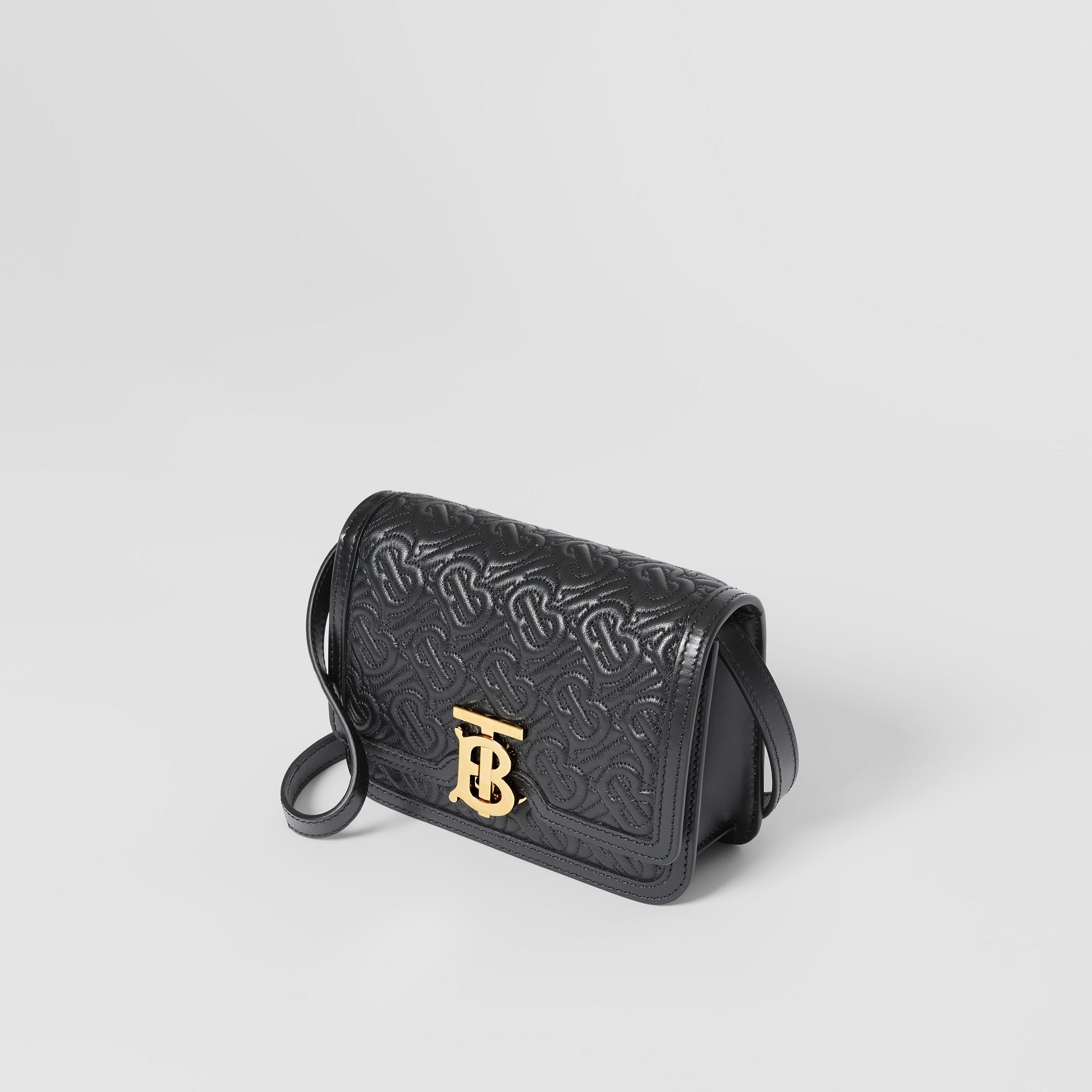 Mini Quilted Monogram Lambskin TB Bag in Black - Women | Burberry United Kingdom - gallery image 2