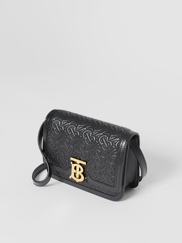 Mini Quilted Monogram Lambskin TB Bag in Black - Women | Burberry - cell image 2