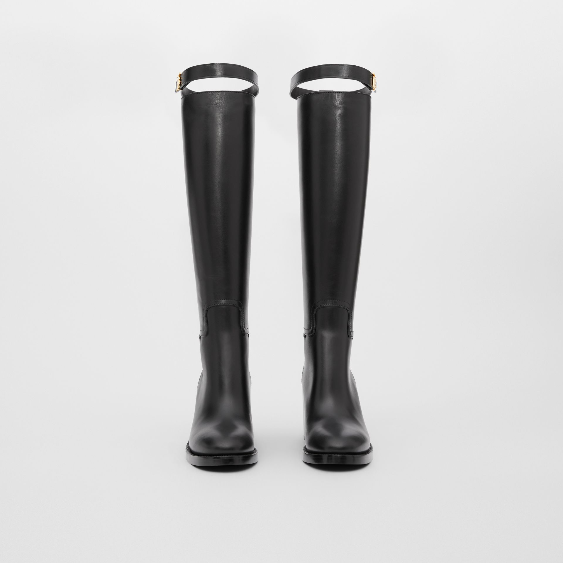 Monogram Motif Leather Knee-high Boots in Black - Women | Burberry United Kingdom - gallery image 2
