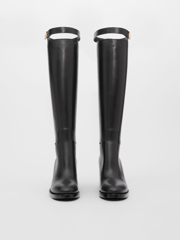 Monogram Motif Leather Knee-high Boots in Black - Women | Burberry United Kingdom - cell image 2
