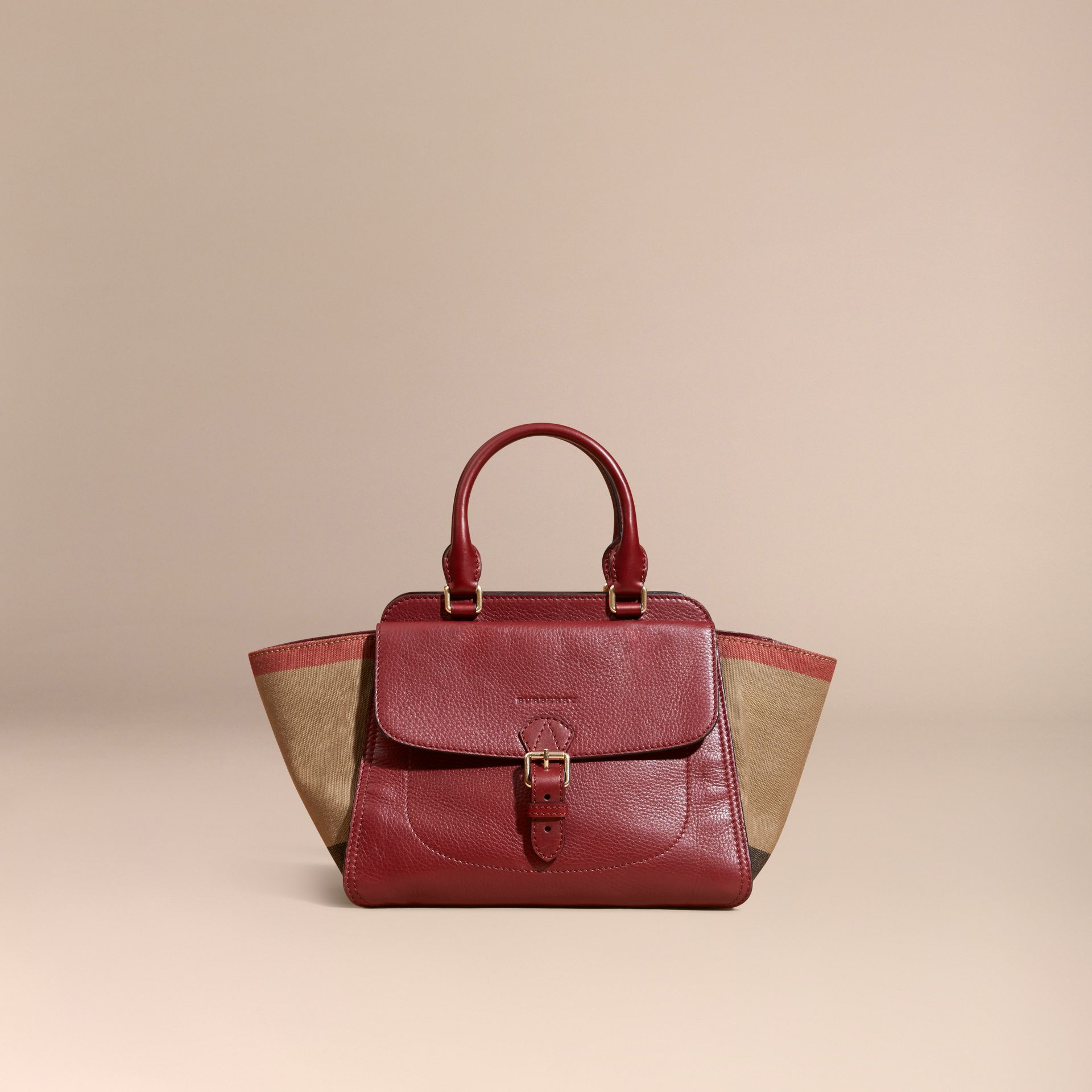 Burgundy red Medium Canvas Check and Leather Tote Bag Burgundy Red - gallery image 8