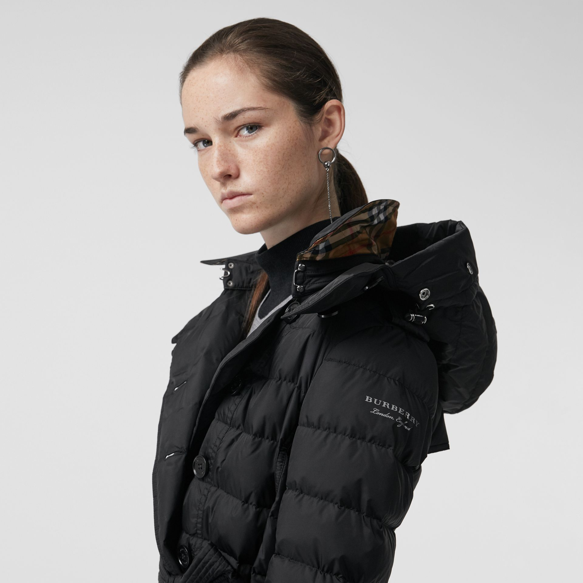 Detachable Hood Down-filled Puffer Coat in Black - Women | Burberry United States - gallery image 1
