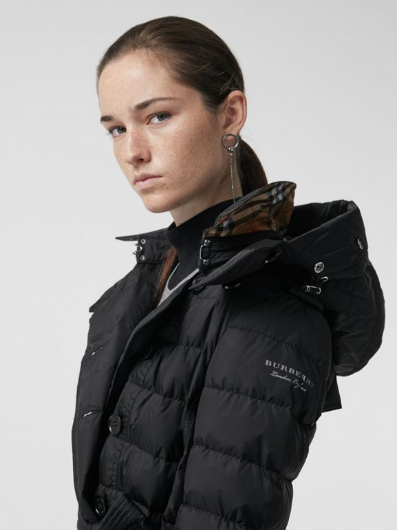 Detachable Hood Down-filled Puffer Coat in Black - Women | Burberry United States - cell image 1