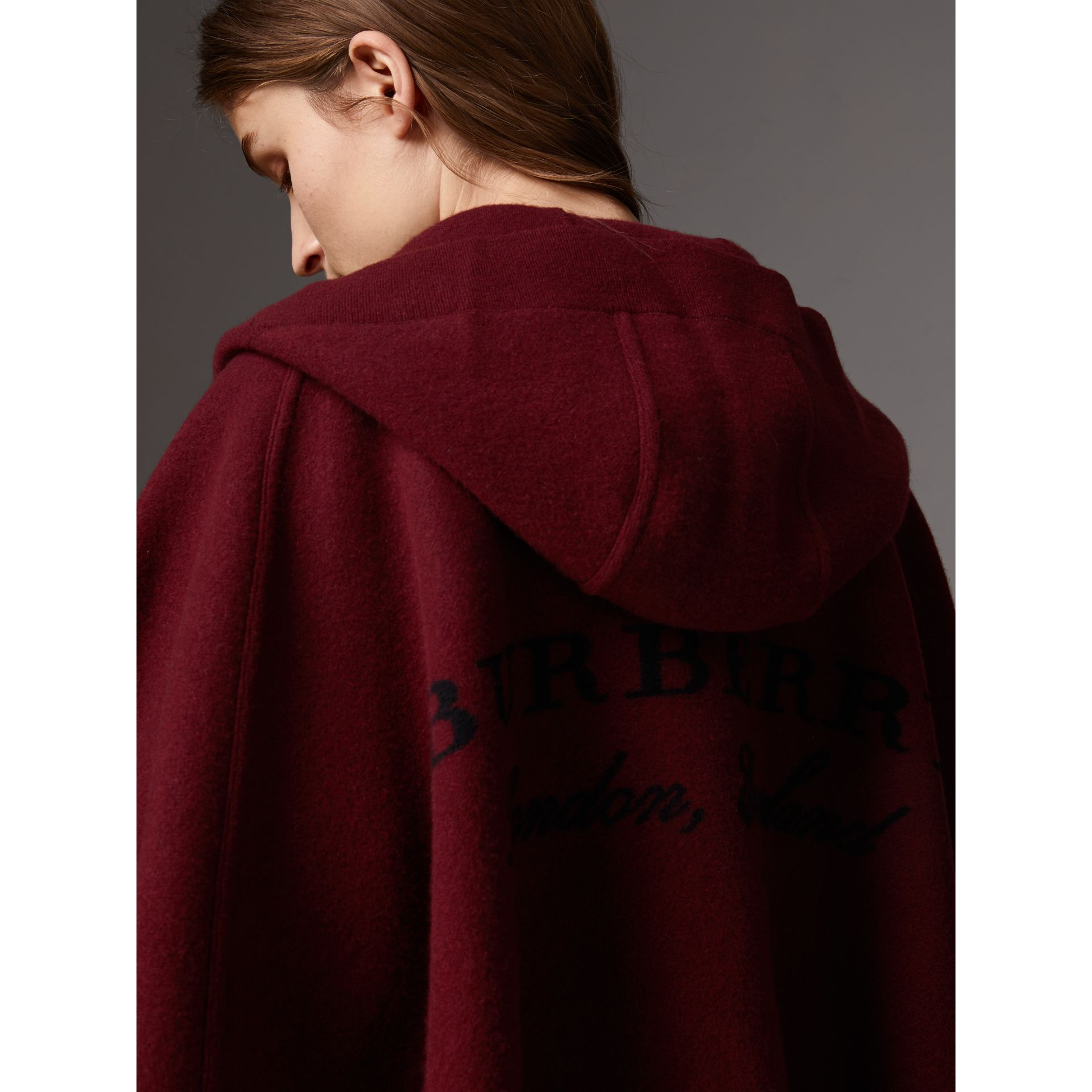 Wool Cashmere Blend Hooded Poncho in Deep Red - Women | Burberry - gallery image 1