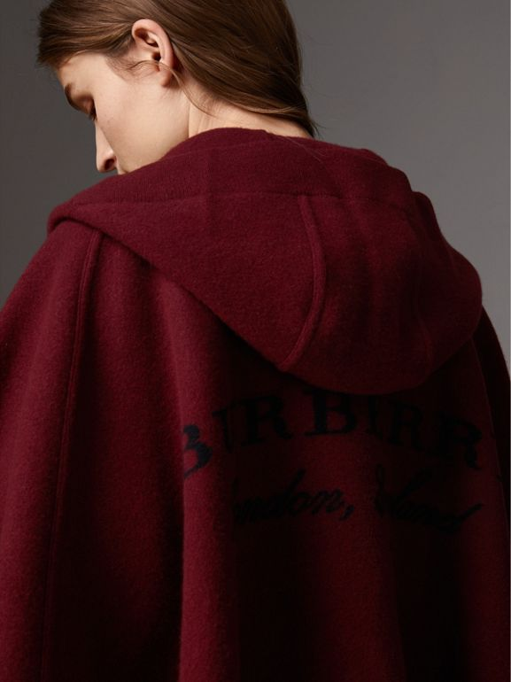 Wool Cashmere Blend Hooded Poncho in Deep Red - Women | Burberry United States - cell image 1