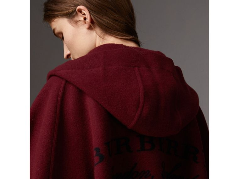 Wool Cashmere Blend Hooded Poncho in Deep Red - Women | Burberry Singapore - cell image 1