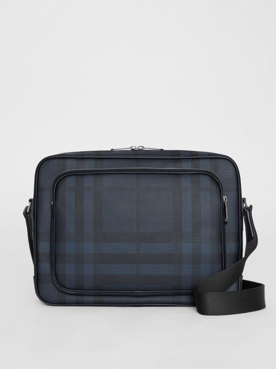 London Check Messenger Bag in Navy/black