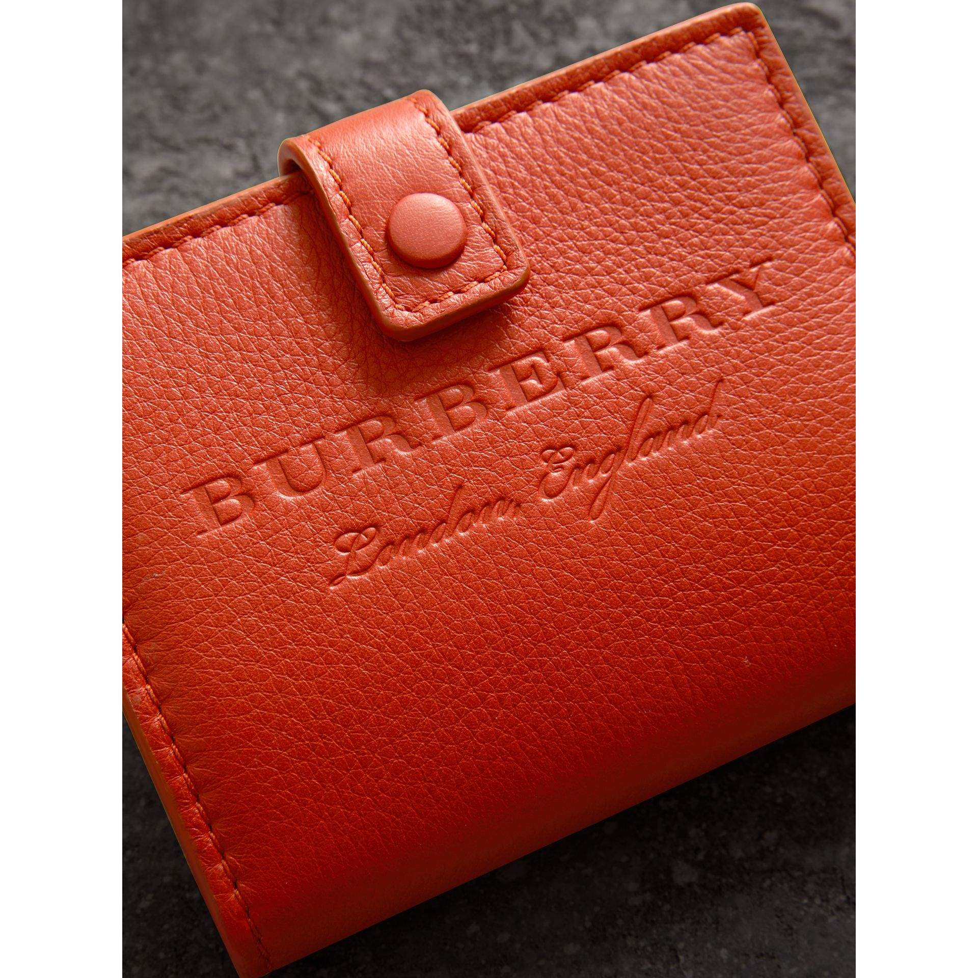 Embossed Leather Folding Wallet in Dark Clementine - Women | Burberry - gallery image 1