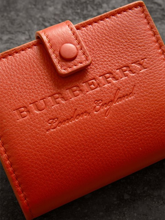 Embossed Leather Folding Wallet in Dark Clementine - Women | Burberry - cell image 1