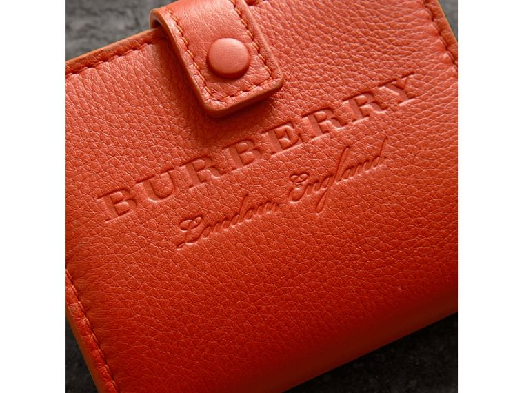 Embossed Leather Folding Wallet in Dark Clementine - Women | Burberry United Kingdom - cell image 1