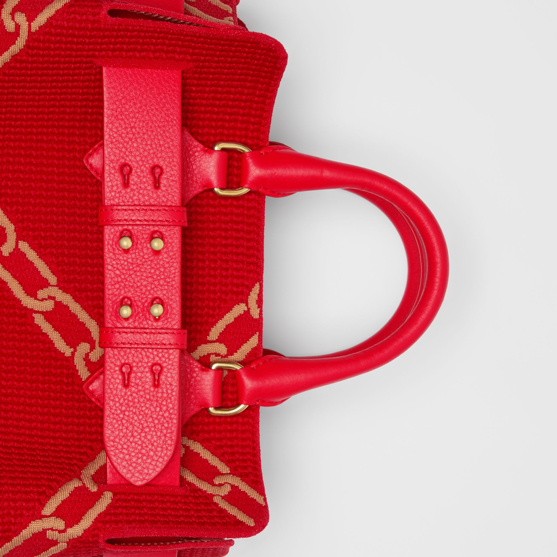 The Small Knitted Link Belt Bag in Bright Red/light Camel - Women | Burberry - gallery image 1
