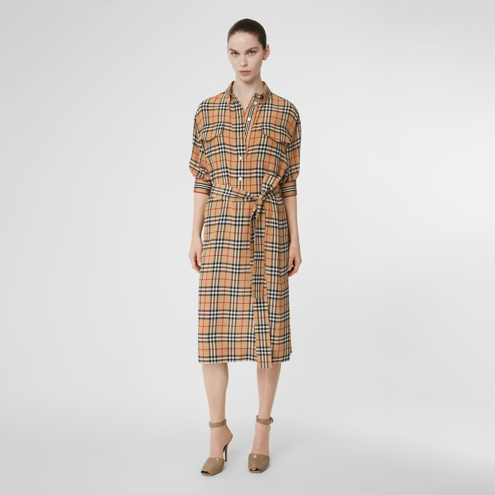 Vintage Check Silk Tie-Waist Shirt Dress in Archive Beige - Women | Burberry Canada - gallery image 5