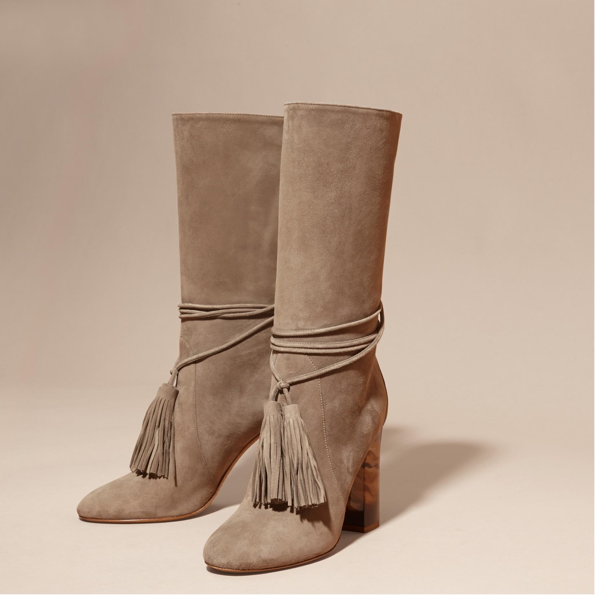 Dark heather melange Tasselled Suede Pull-on Boots - gallery image 3