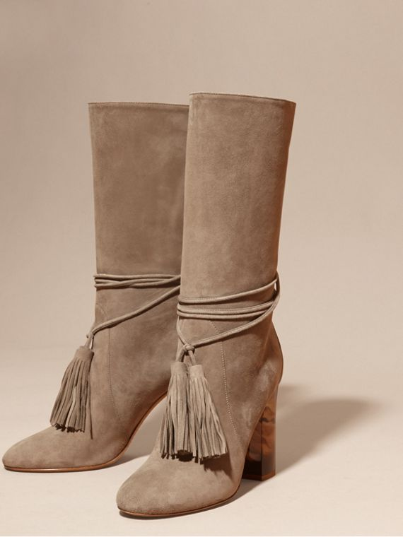 Dark heather melange Tasselled Suede Pull-on Boots - cell image 2