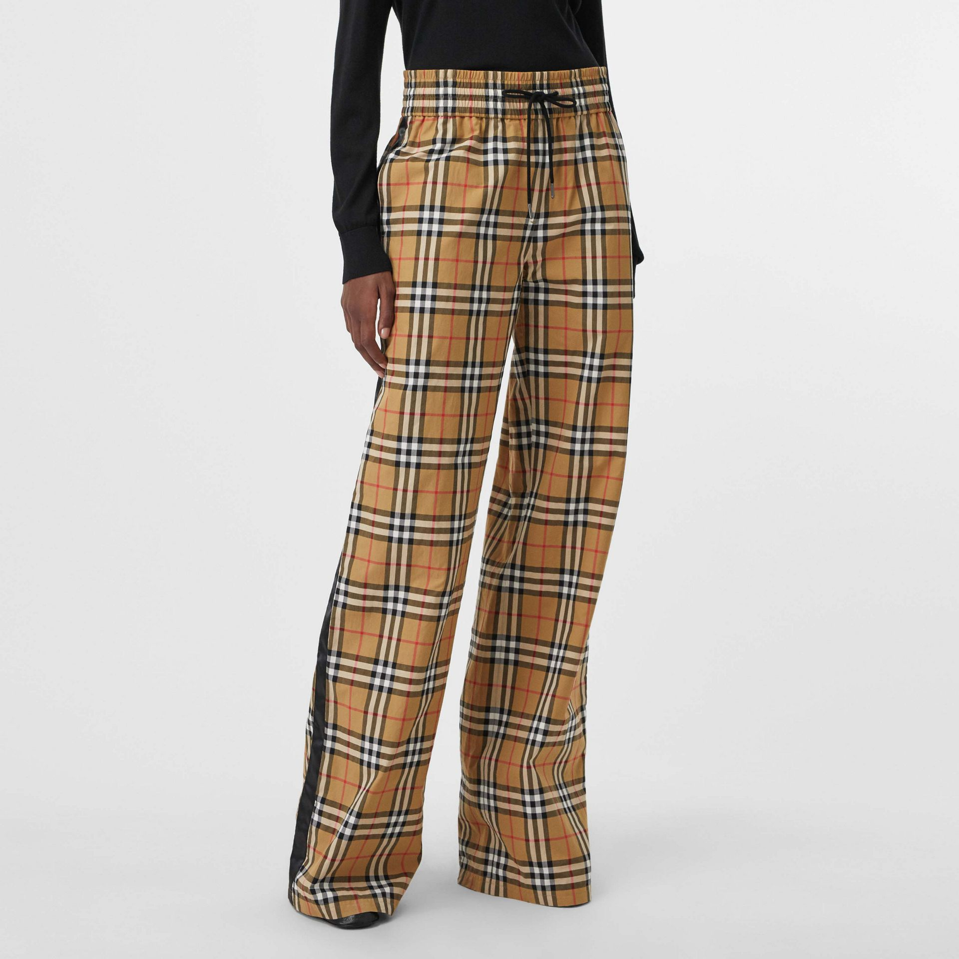 Satin Trim Vintage Check Cotton Trousers in Antique Yellow - Women | Burberry - gallery image 4