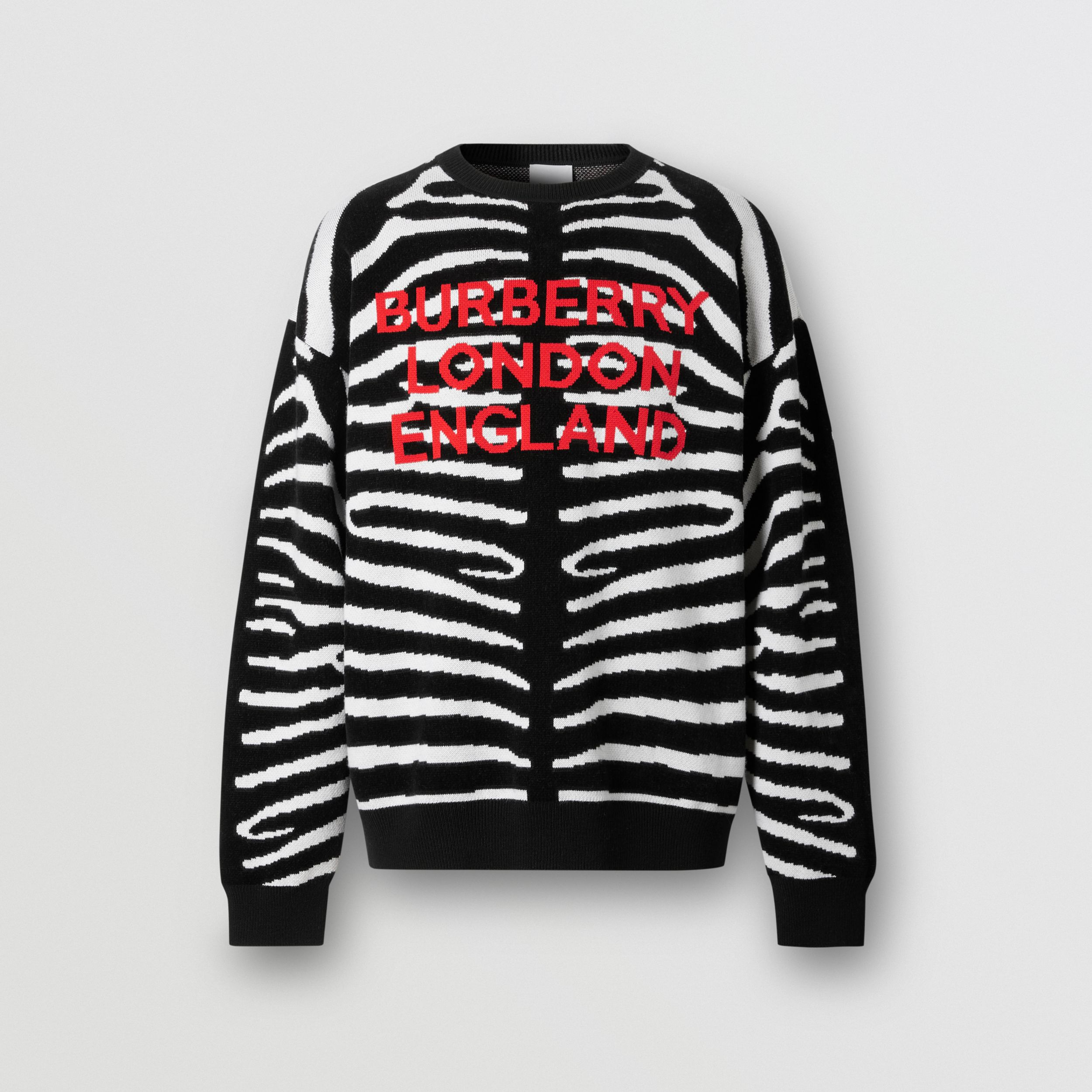 Zebra and Logo Wool Blend Jacquard Sweater in Black - Men | Burberry - 4