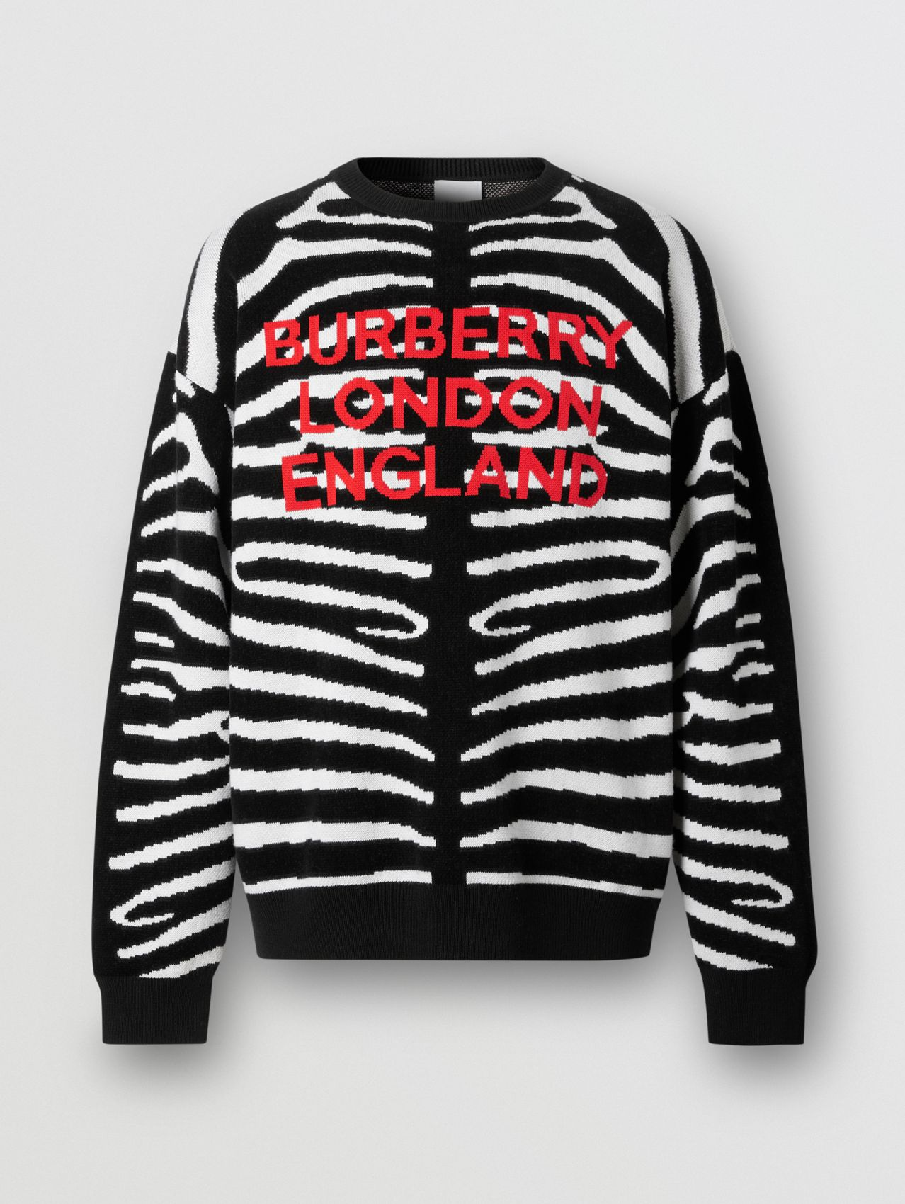 Zebra and Logo Wool Blend Jacquard Sweater in Black