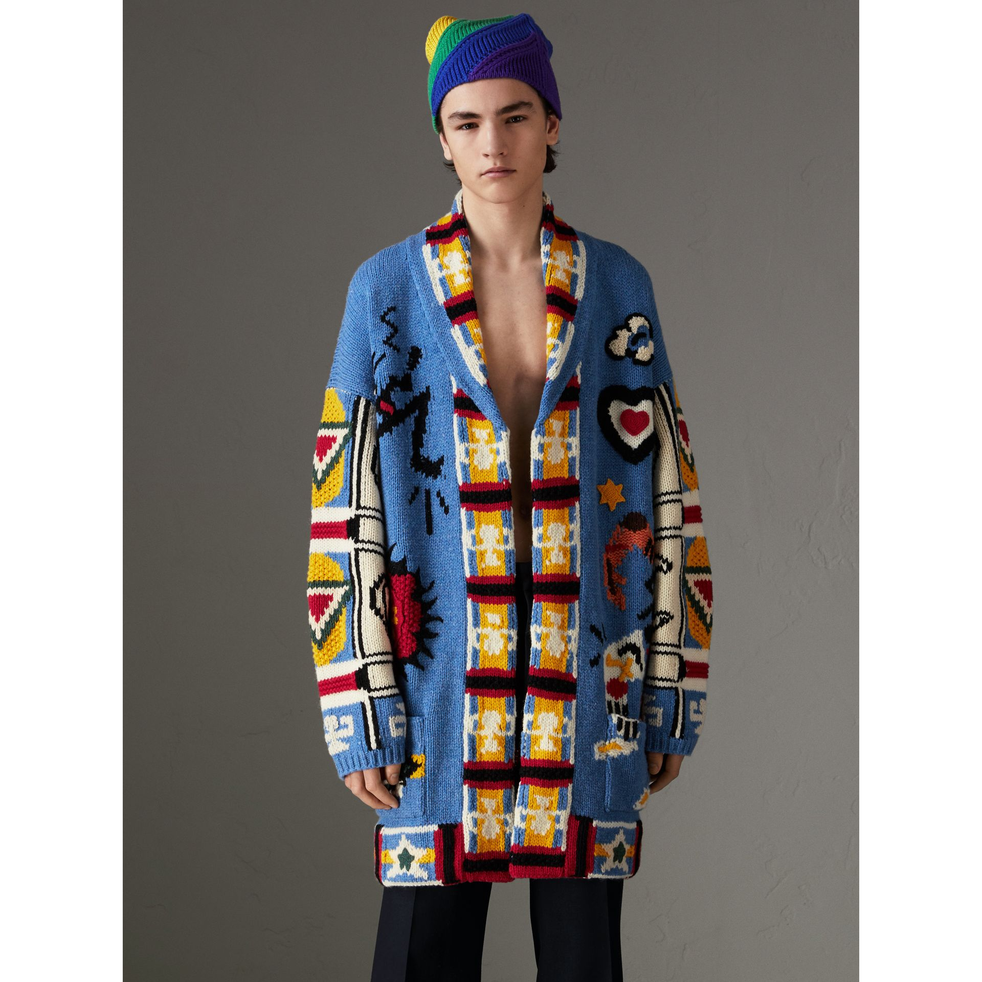Wool Graphic Intarsia Cardigan in Sky Blue | Burberry - gallery image 4