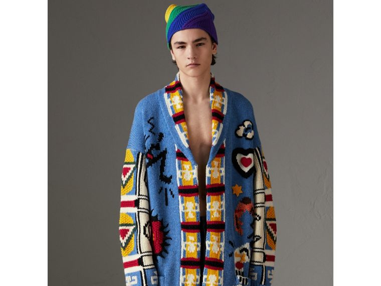Wool Graphic Intarsia Cardigan in Sky Blue | Burberry - cell image 4
