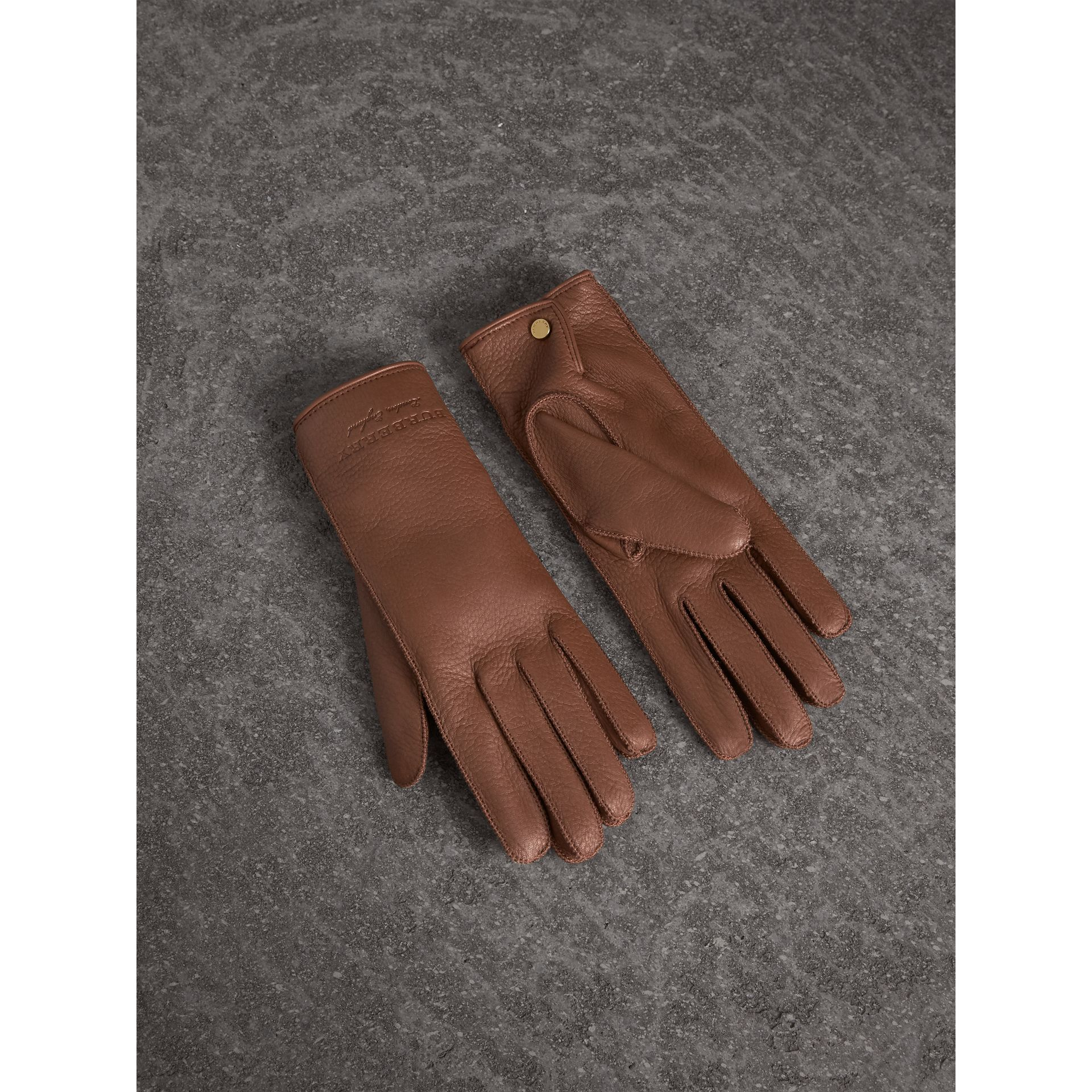 Deerskin Gloves in Chestnut Brown - Women | Burberry - gallery image 1