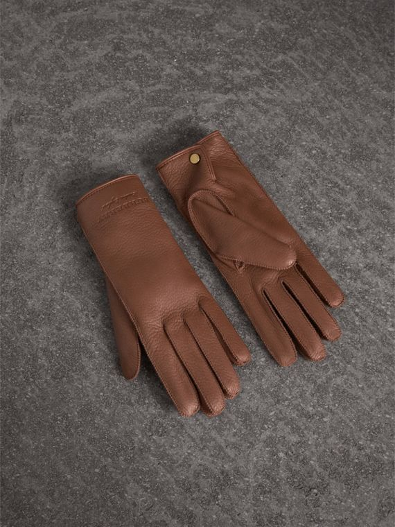 Deerskin Gloves in Chestnut Brown - Women | Burberry Singapore