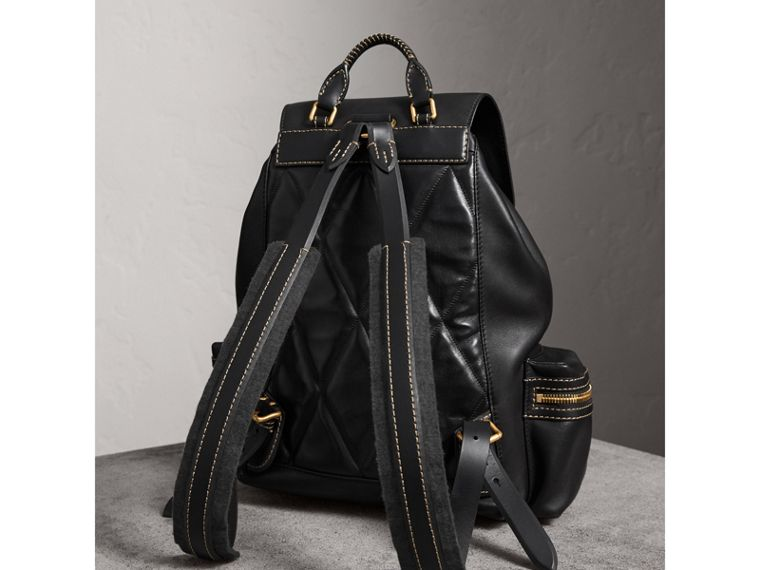 The Large Rucksack in Topstitched Leather in Black | Burberry Australia - cell image 4