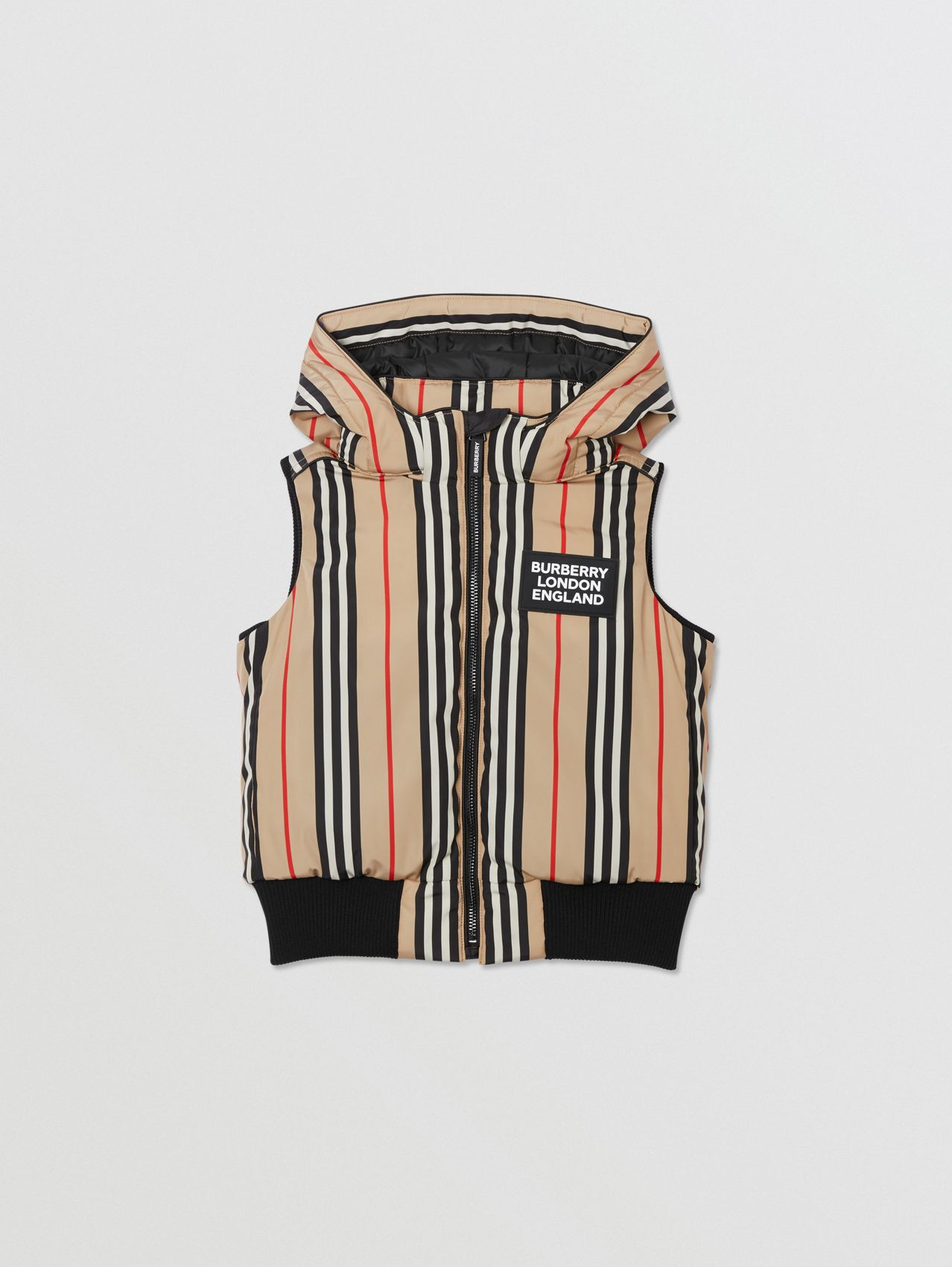 Detachable Hood Icon Stripe Puffer Gilet in Archive Beige