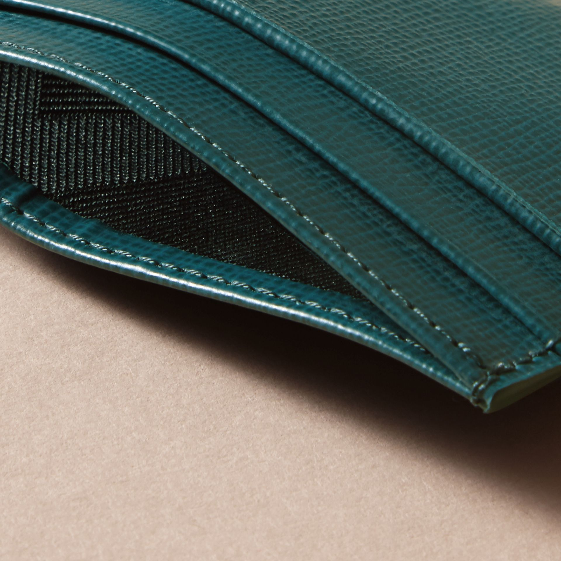 London Leather Card Case in Dark Teal | Burberry - gallery image 3