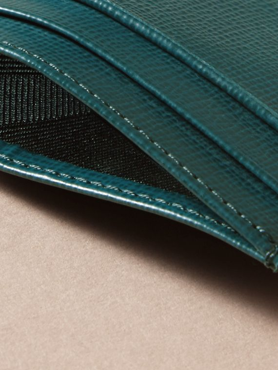 London Leather Card Case in Dark Teal | Burberry Australia - cell image 3