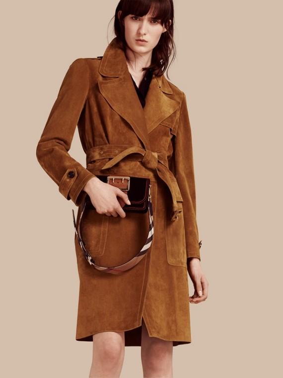 Manteau portefeuille en cuir velours