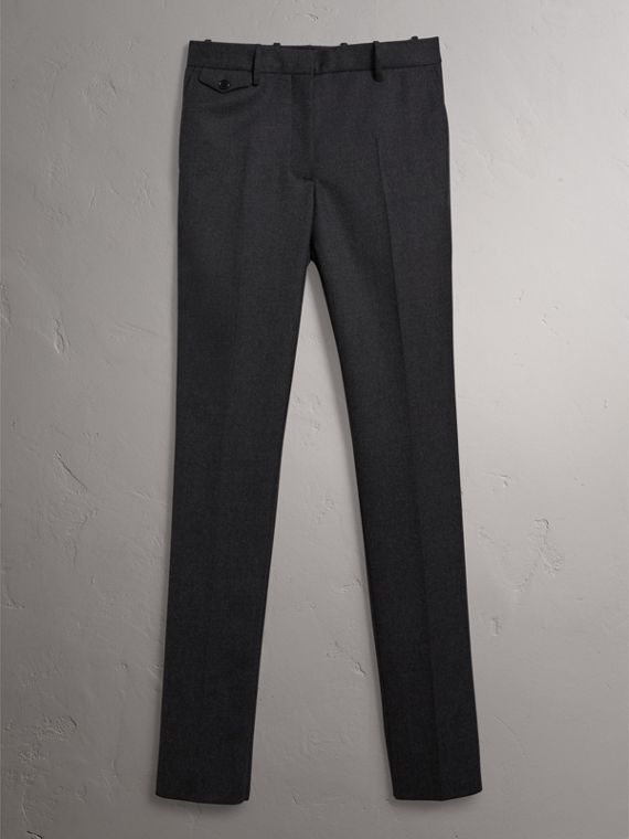 Wool Twill Trousers in Dark Grey Melange - Women | Burberry - cell image 3