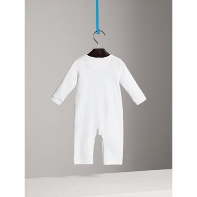 Burberry - Combinaison en coton avec garnitures à motif check - 4