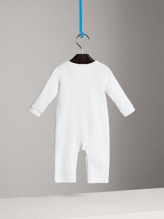 Check Trim Cotton Jumpsuit in White - Girl | Burberry - cell image 3