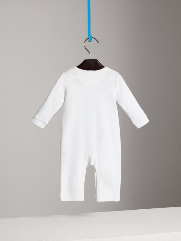 Check Trim Cotton Jumpsuit in White | Burberry - cell image 3