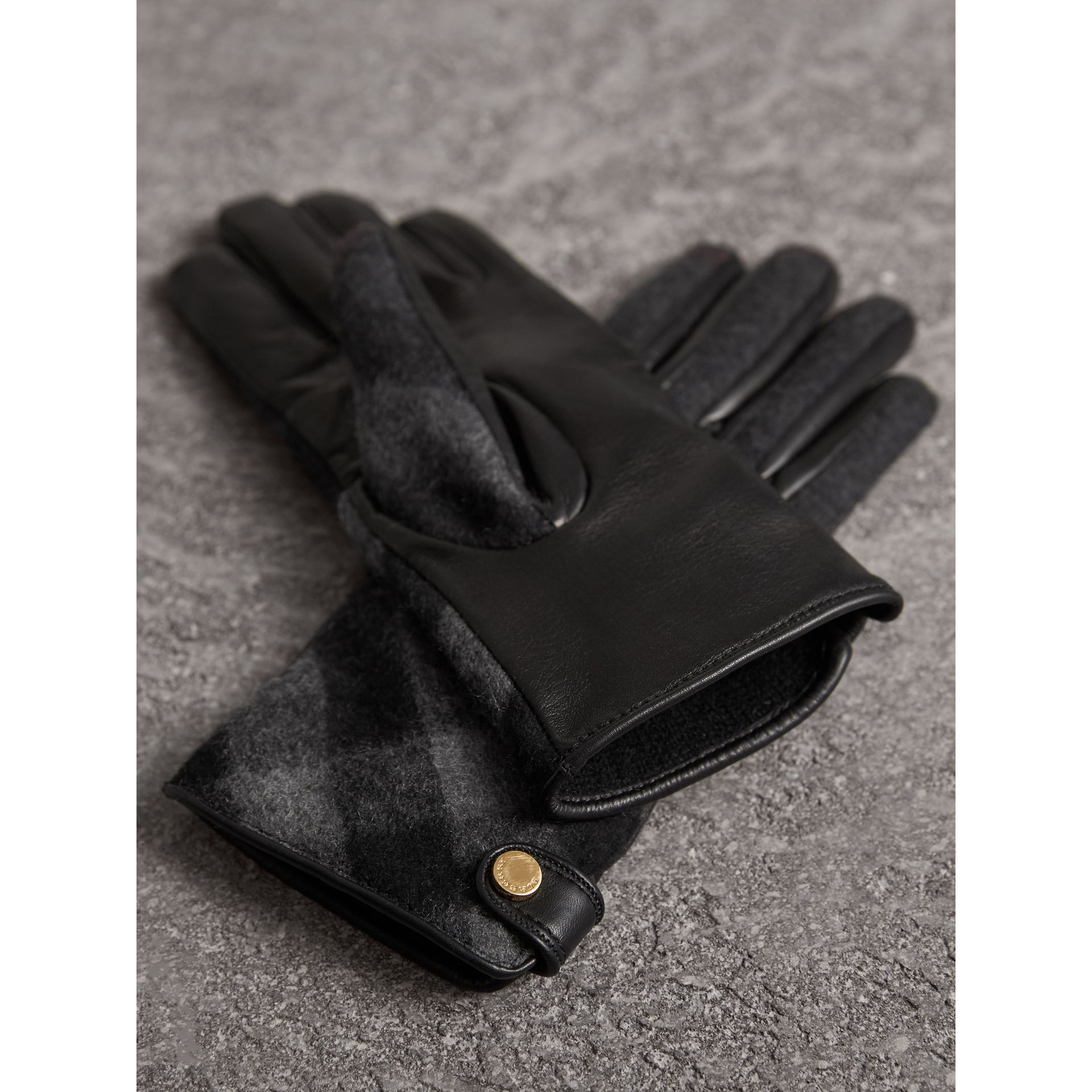 Leather and Check Cashmere Gloves in Charcoal - Women | Burberry - gallery image 3