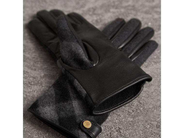 Leather and Check Cashmere Gloves in Charcoal - Women | Burberry - cell image 2