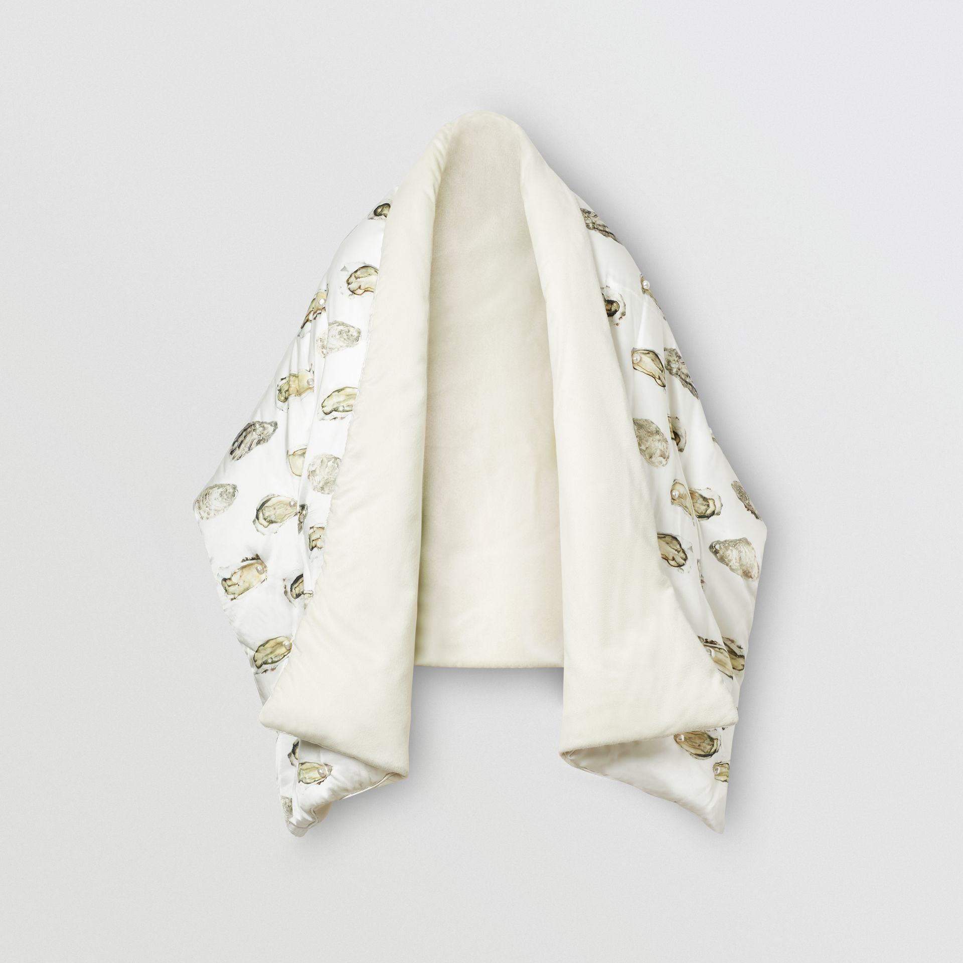 Oyster Print Puffer Scarf in Natural White - Women | Burberry - gallery image 3