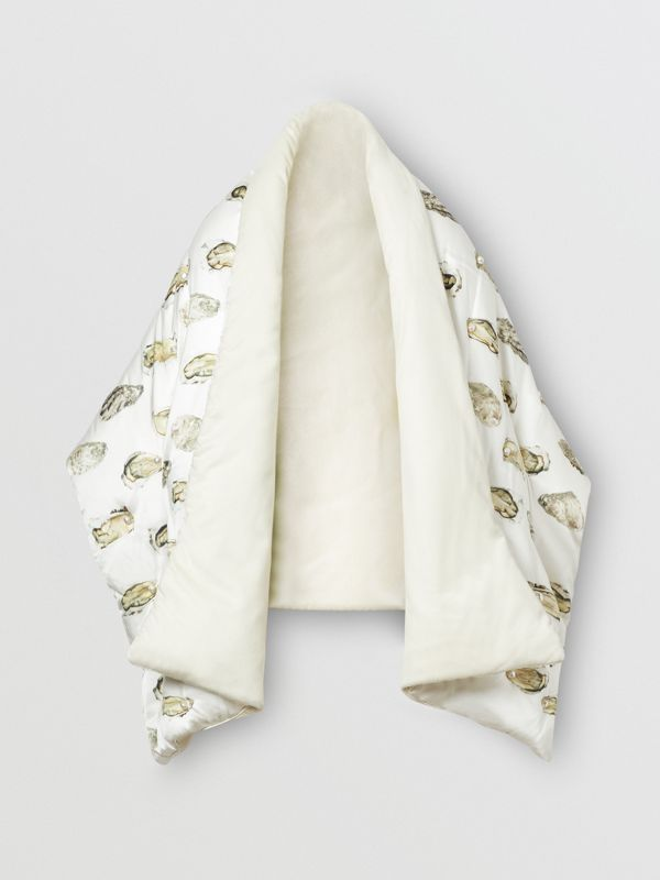 Oyster Print Puffer Scarf in Natural White - Women | Burberry - cell image 3