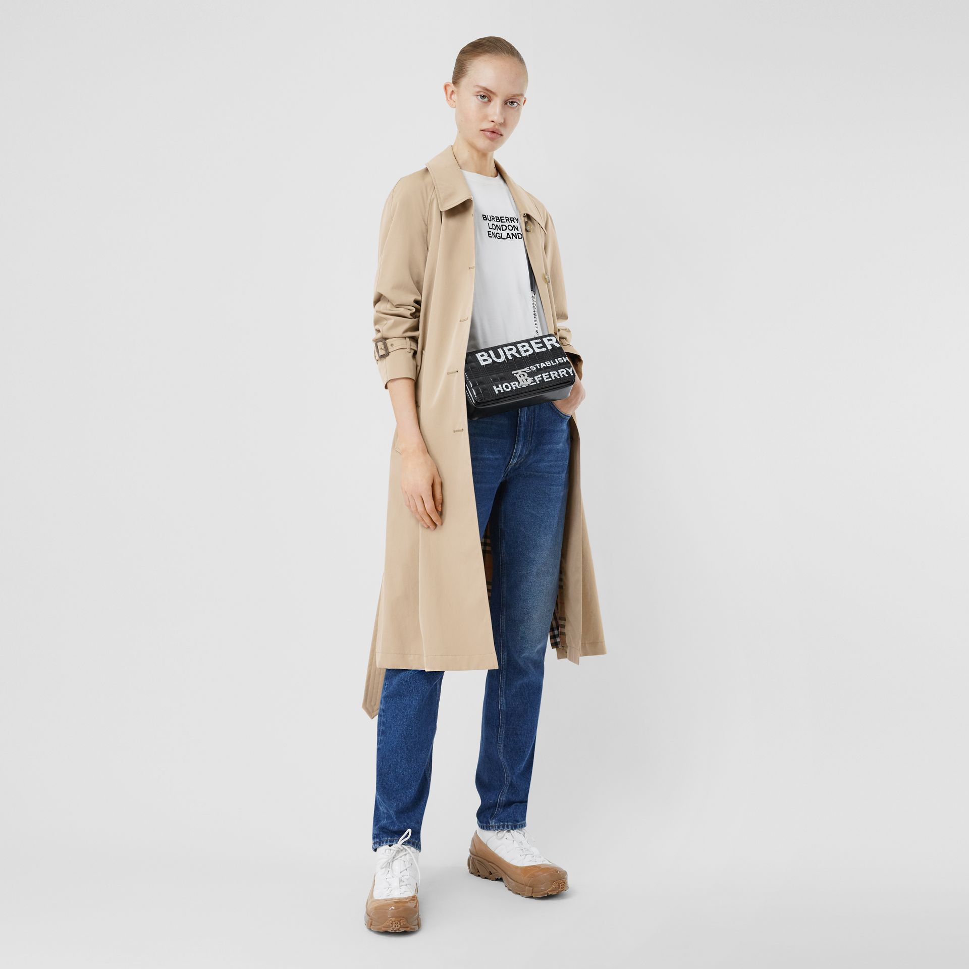 Side-slit Tropical Gabardine Trench Coat in Light Taupe - Women | Burberry United Kingdom - gallery image 6
