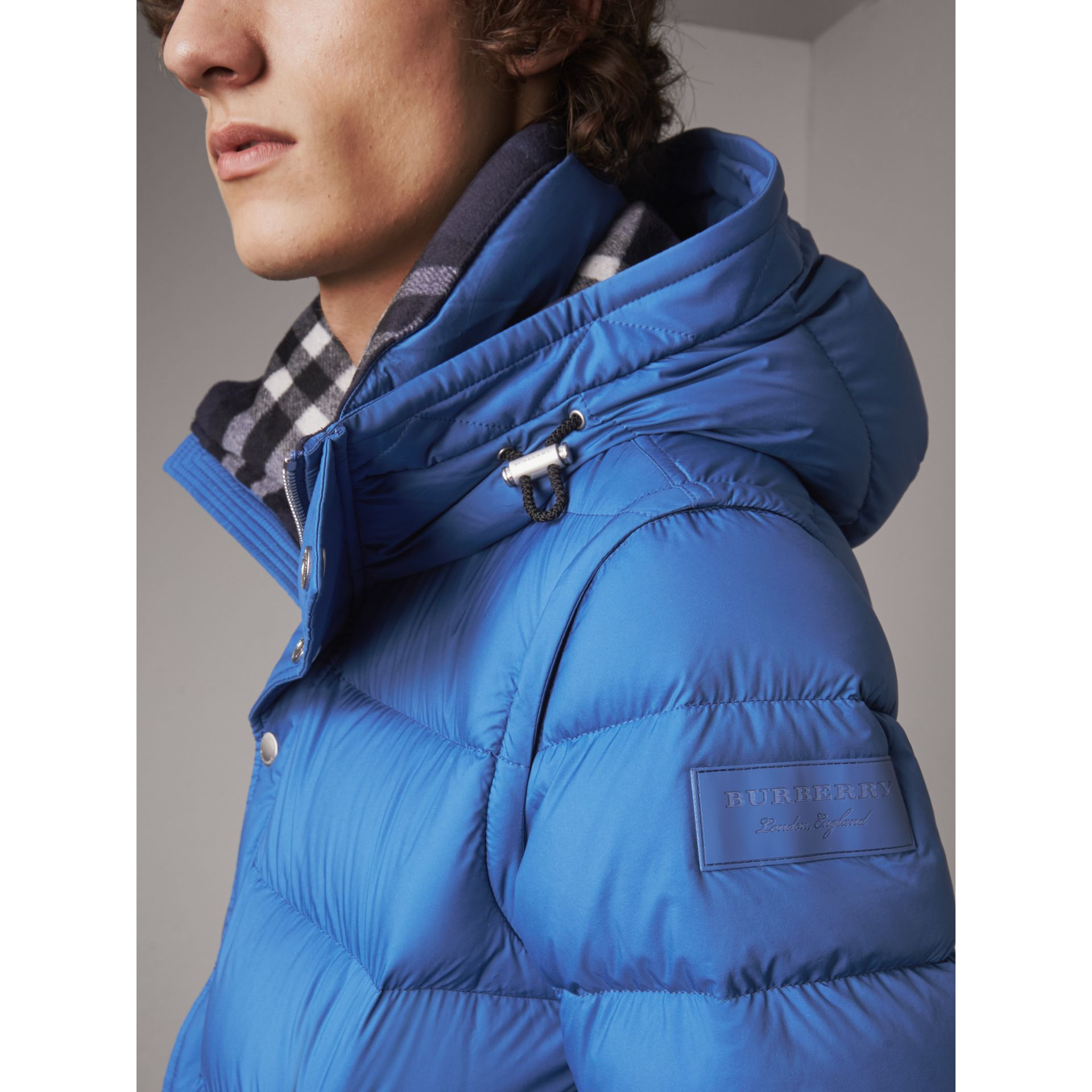 Detachable-sleeve Down-filled Puffer Jacket in Cerulean Blue - Men | Burberry - gallery image 4