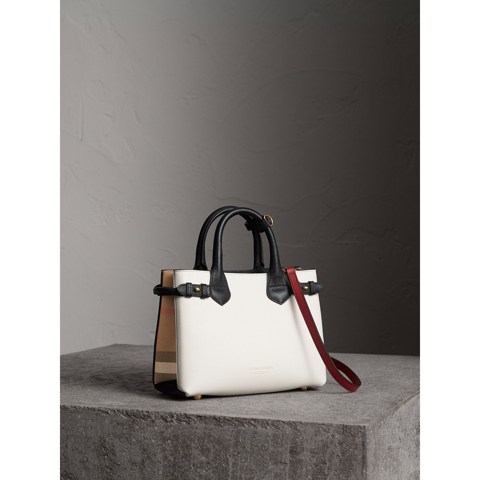 The Small Banner in Leather and House Check - Women | Burberry - gallery image 1