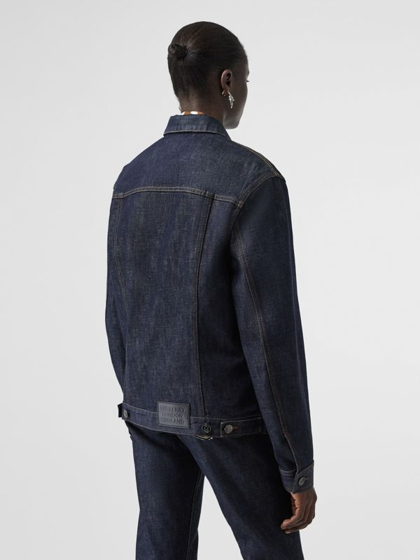 Postcard Motif Japanese Selvedge Denim Jacket in Indigo - Women | Burberry United States - cell image 2