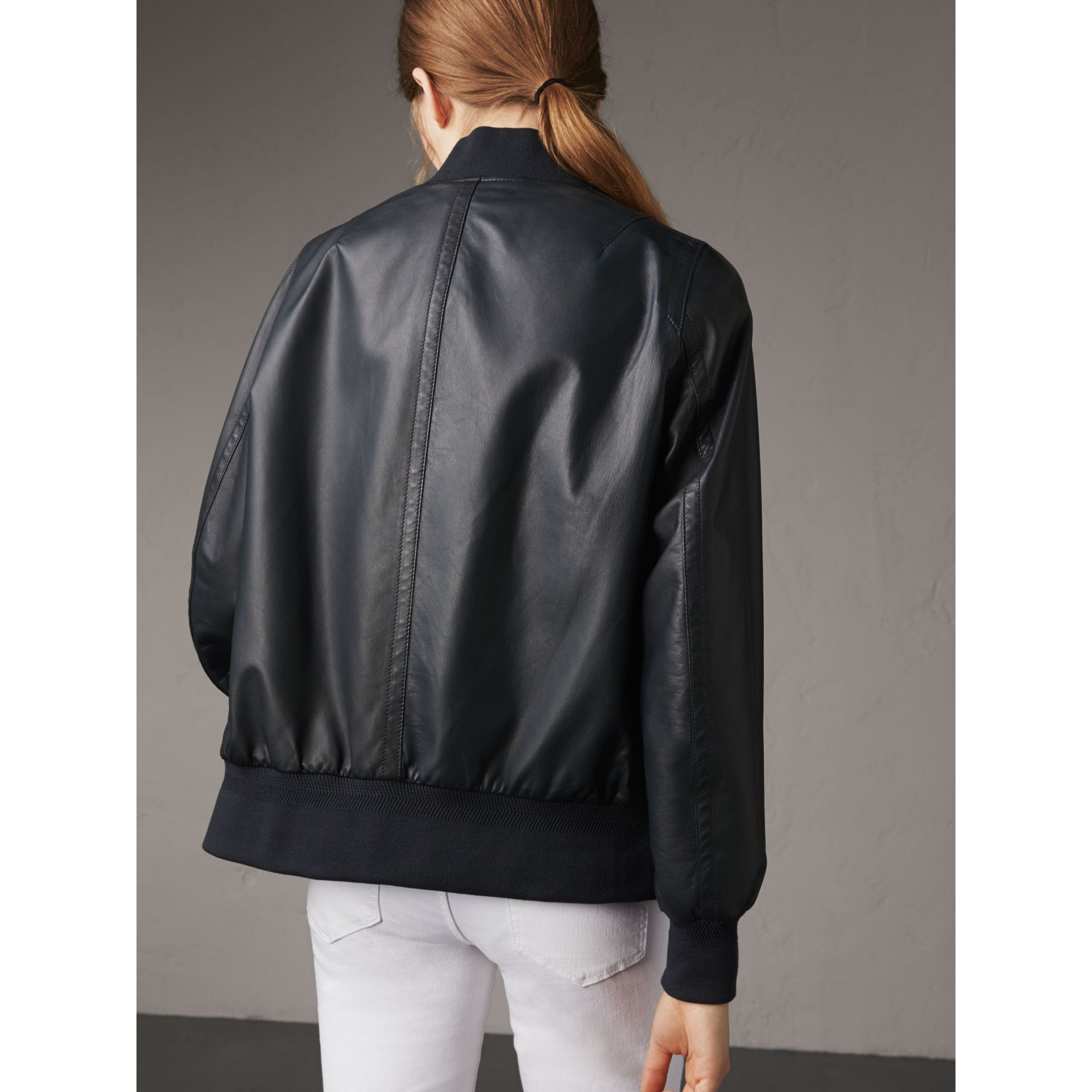 Lightweight Lambskin Bomber Jacket in Navy - Women | Burberry Singapore - gallery image 2
