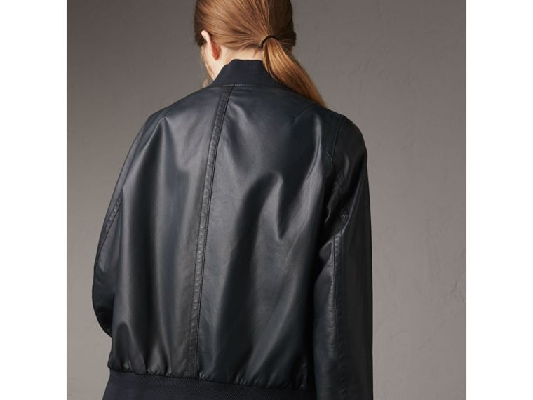 Lightweight Lambskin Bomber Jacket in Navy - Women | Burberry - cell image 1
