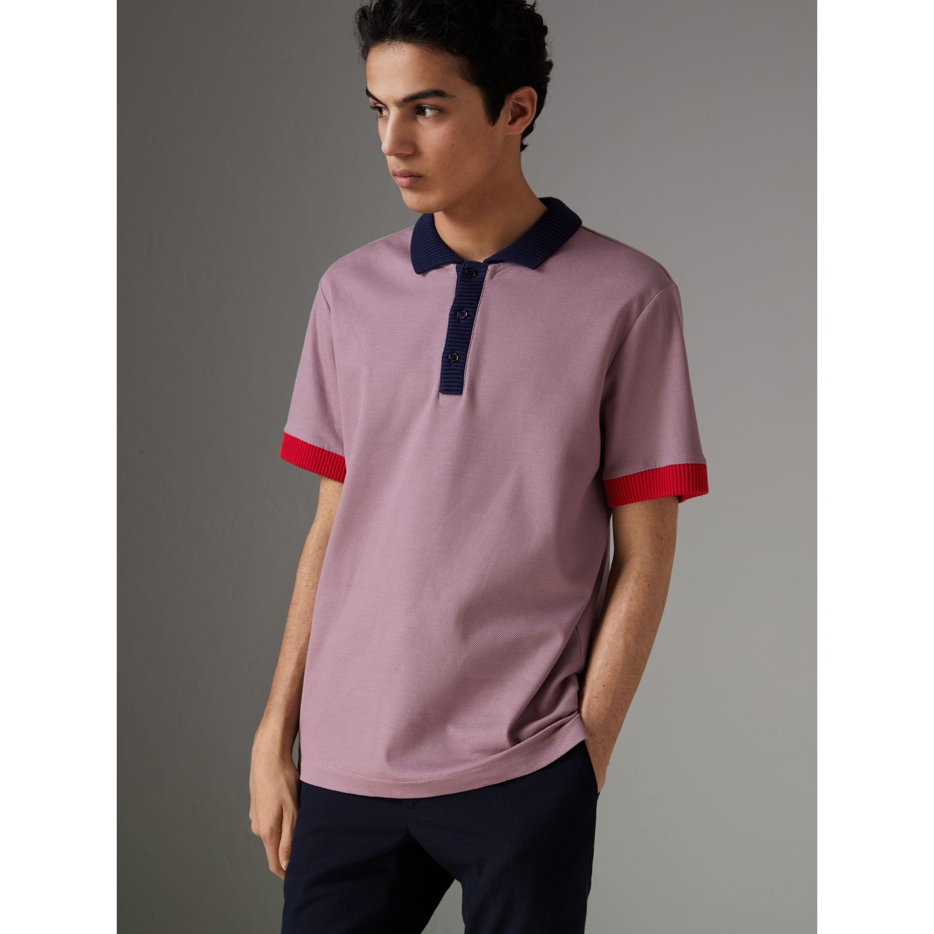 Two-tone Stripe Knitted Detail Cotton Polo Shirt in Heather Pink - Men | Burberry - gallery image 5