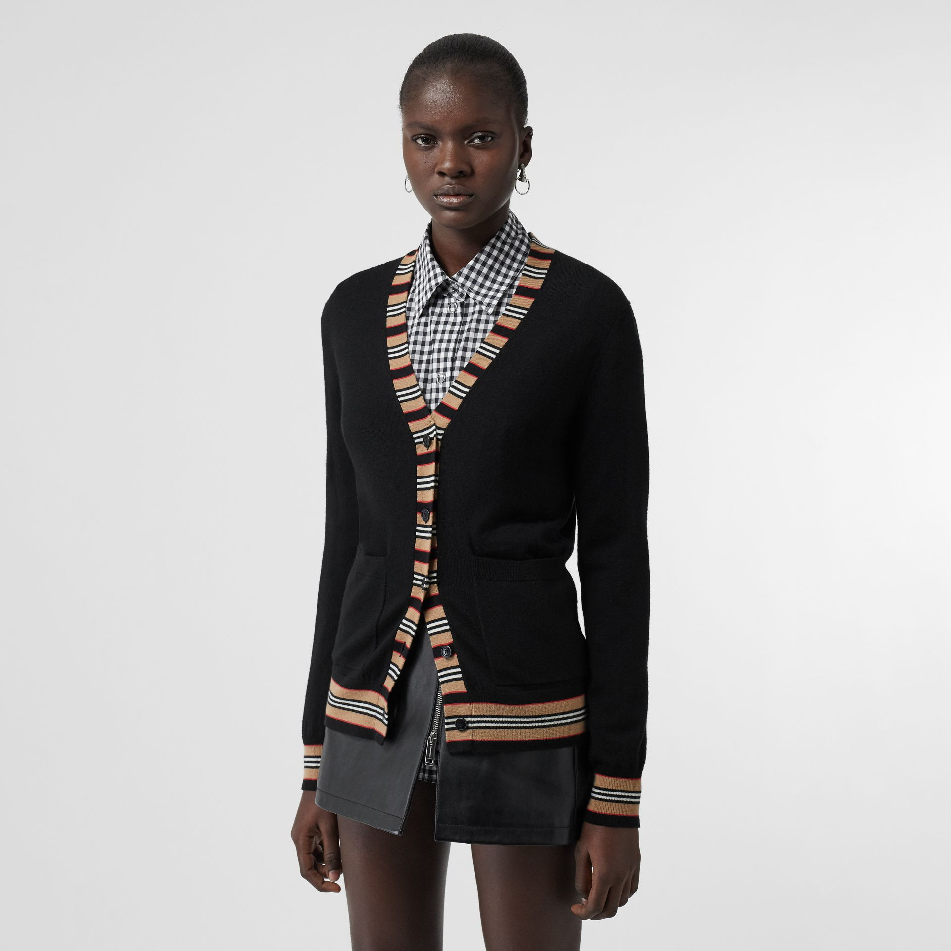 Icon Stripe Detail Merino Wool Cardigan in Black - Women | Burberry - gallery image 0