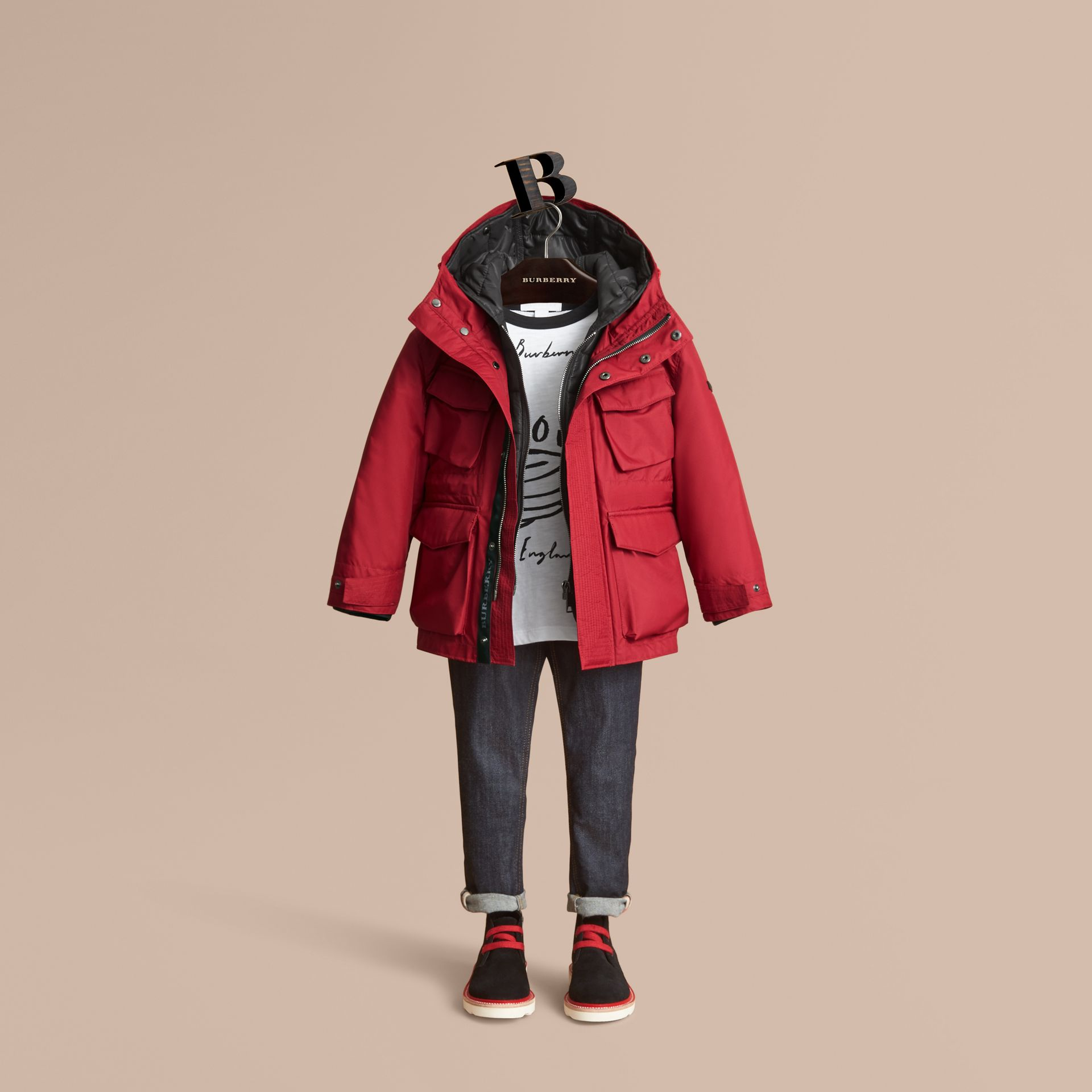 Hooded Field Jacket with Detachable Hooded Warmer in Parade Red - Boy | Burberry - gallery image 1