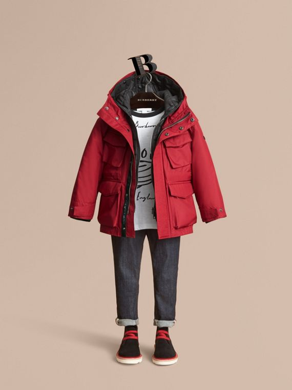Hooded Field Jacket with Detachable Hooded Warmer in Parade Red