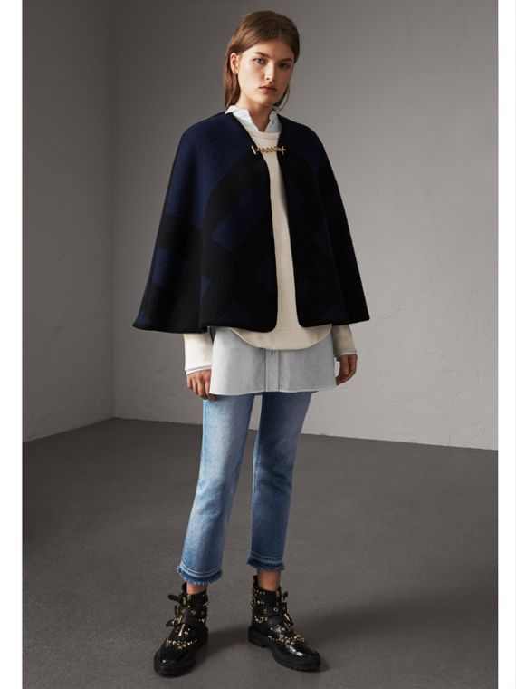 Check Wool Cashmere Blanket Cape in Navy
